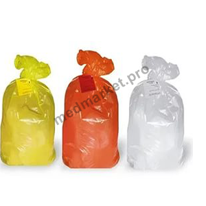 Пакеты для медотходов класс+стяжка-хомут А (белый) Б (желтый) В (красный) оптом