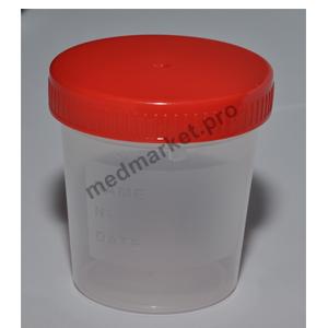 Контейнер 120 мл нестерильный градуированный с полиэтиленовой крышкой оптом