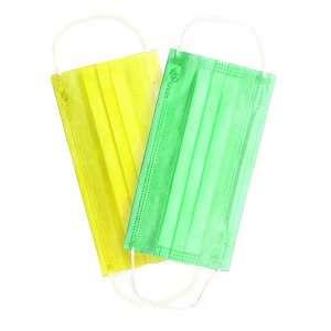 Маски медицинские 3-слойные, цвет- зелёный, жёлтый