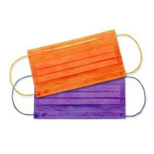 Маски медицинские 3-слойные фиолетовый, оранжевый